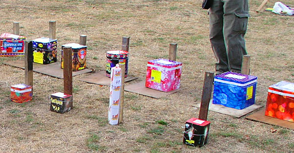 setting up fireworks